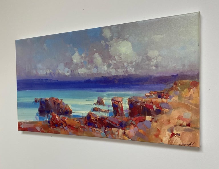 Ocean Side, Print on Canvas - Impressionist Painting by Vahe Yeremyan