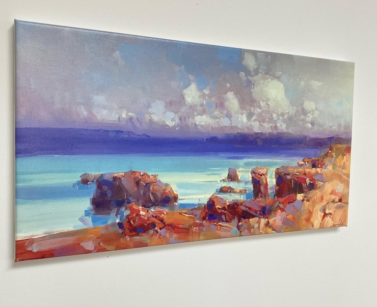 Ocean Side, Print on Canvas - Gray Still-Life Painting by Vahe Yeremyan