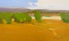 Ochre Valley, Original Oil Painting, Handmade Artwork