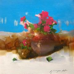 Pink Flowers, Original Oil Painting, Handmade Artwork