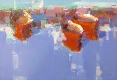 Red Boats, Original Oil Painting, Handmade Artwork