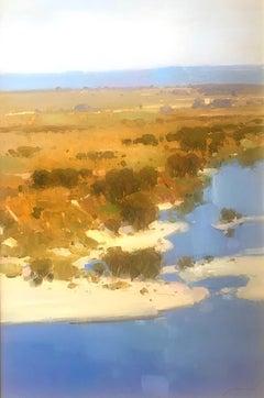 Riverside, Original Oil Painting, Handmade Artwork, Framed