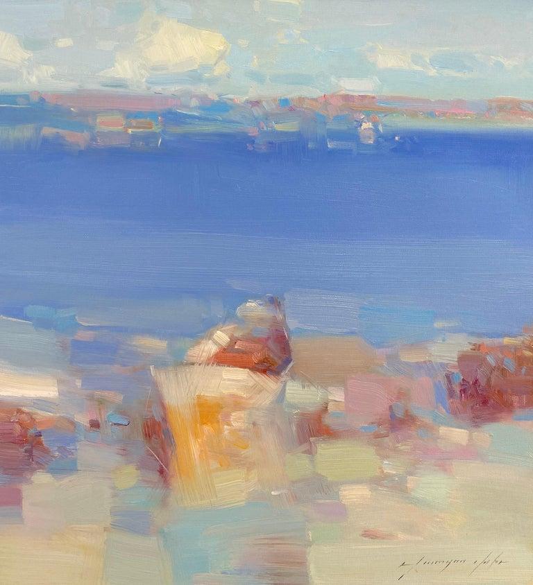 Vahe Yeremyan Landscape Painting - Rowboat, Original Oil Painting, Handmade Artwork