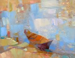 Rowboats, Original oil Painting, Ready to Hang