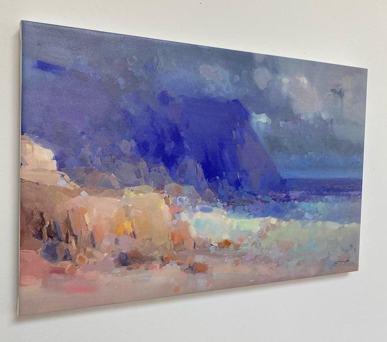 Seashore, Print on Canvas - Gray Landscape Painting by Vahe Yeremyan