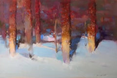 Snow Covered, Landscape Original Oil Painting, Handmade Artwork