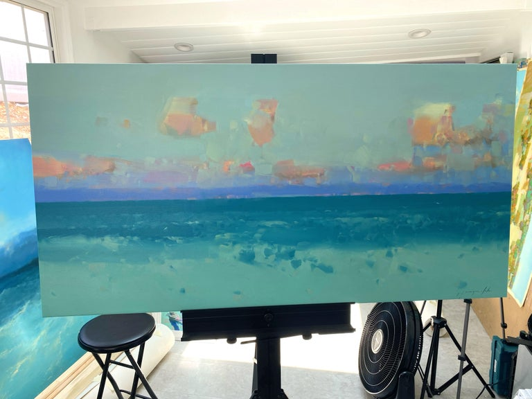 South Bay, Original oil Painting, Ready to Hang - Blue Landscape Painting by Vahe Yeremyan