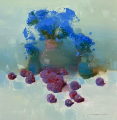 Still Life with Plums, Original oil Painting, Ready to Hang
