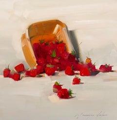 Strawberries Original Oil Painting, Handmade Artwork