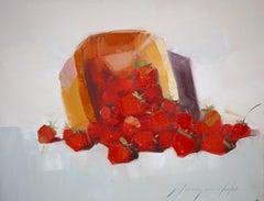 Strawberries, Original Oil Painting, Handmade Artwork