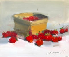 Strawberries, Still Life Original Oil Painting, Handmade Artwork