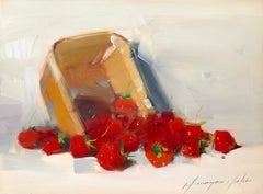 Strawberries, Still Life Original Oil Painting, Handmade Artwork