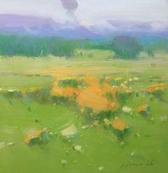 Summer field, Original oil Painting, Handmade artw, Painting, Oil on Canvas