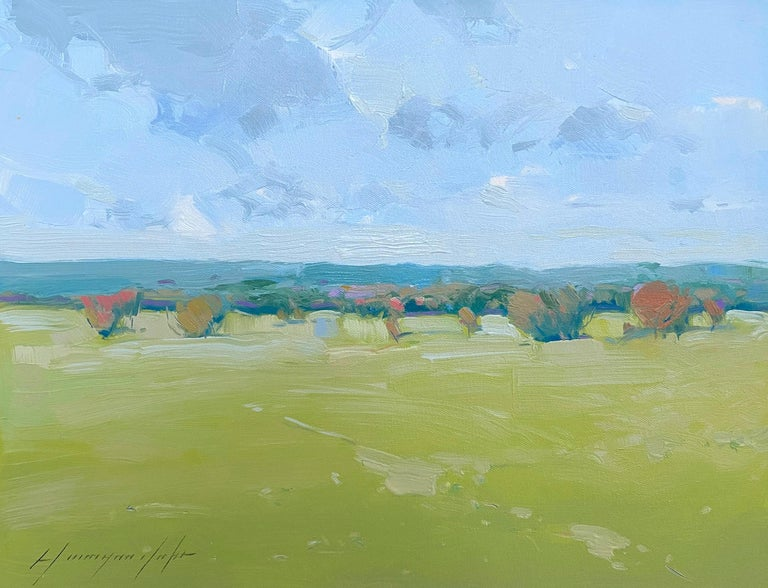 Vahe Yeremyan Landscape Painting - Summer Field, Original oil Painting, Ready to Hang