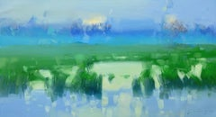 Summer Lake, Original oil Painting, Ready to Hang