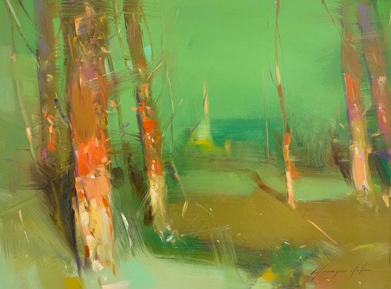 Vahe Yeremyan Landscape Painting - Summer Trees, Original Oil Painting, Handmade Artwork