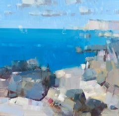 Turquoise Cliffs, Original oil Painting, Ready to Hang