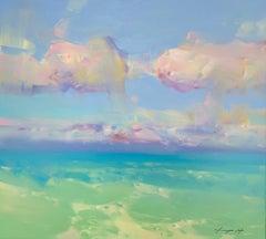 Turquoise Ocean, Original Oil Painting, Handmade Artwork