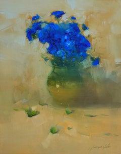 Vase of Blue flowers, Original Oil Painting, Handmade artwork