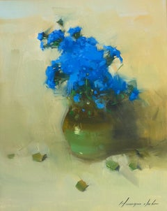 Vase of Blue Flowers, Original Oil Painting, Handmade Artwork