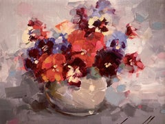 Vase of Pansies Print on Canvas