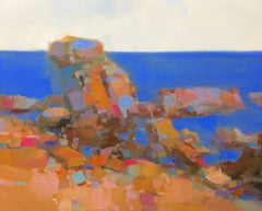 Vibrant Cliffs, Original Oil Painting, Handmade Artwork