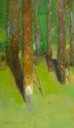 Vibrant Forest, Landscape Original Oil Painting, Handmade Artwork