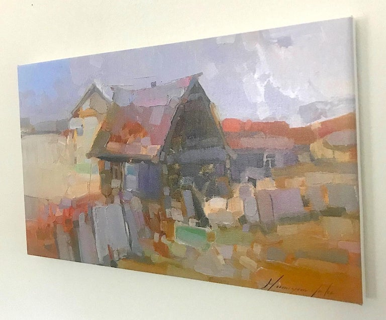 Village, Print on Canvas - Painting by Vahe Yeremyan