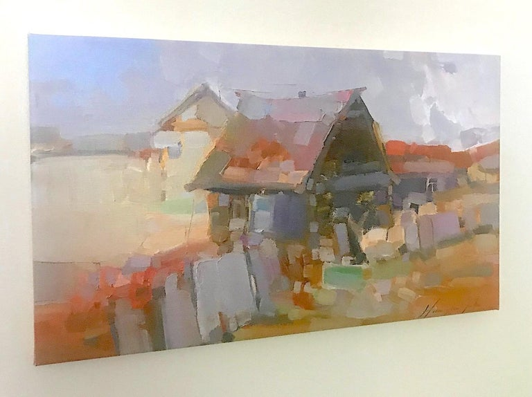 Village, Print on Canvas - Impressionist Painting by Vahe Yeremyan