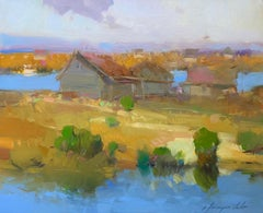 Village Side, Landscape Original Oil Painting, Handmade Artwork