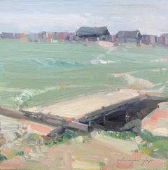 Village Way, Original Oil Painting, Handmade Artwork