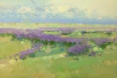 Violet Meadow, Original Oil Painting, Handmade artwork