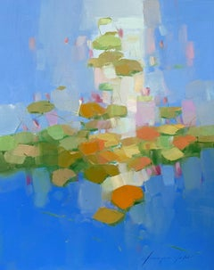 Waterlilies Garden, Abstract Oil Painting