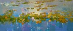 Waterlilies Original Oil Painting, Handmade Artwork