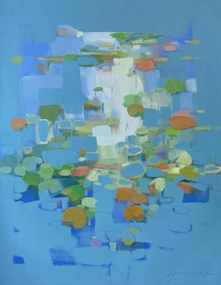 Vahe Yeremyan Landscape Painting - Waterlilies, Original oil Painting, Ready to Hang