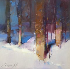Winter Trees, Original Oil Painting, Handmade Artwork