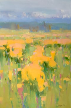 Yellow Valley, Original Oil Painting, Handmade artwork