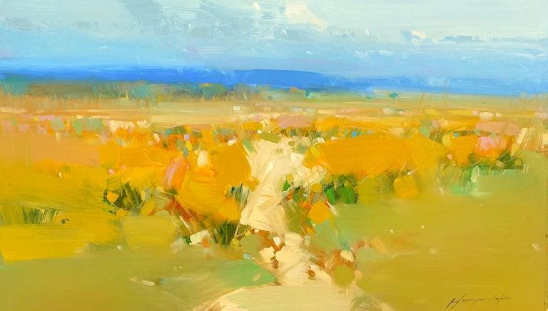 Vahe Yeremyan Landscape Painting - Yellow Valley, Original Oil Painting, Handmade Artwork