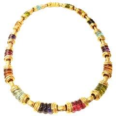 Vaid 18 Karat Yellow Gold Choker Necklace with Sixteen Multi-Color Tourmalines