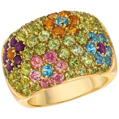 Vaid 18 Karat Yellow Gold Peridot and Semi, Precious Flowers Band