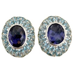 Vaid Roma 18 Karat White Gold Earrings with Iolite and Blue Topaz
