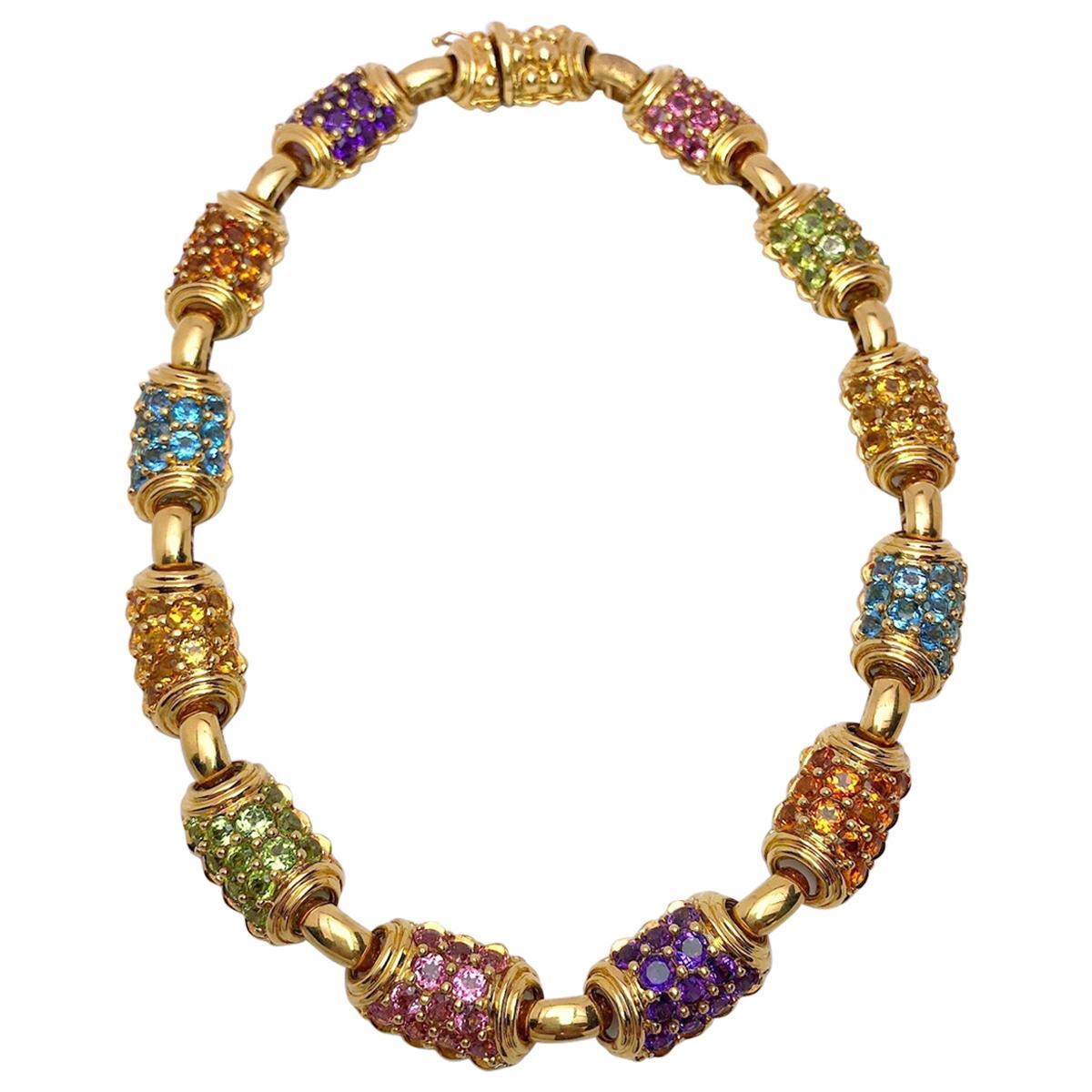 Vaid Roma 18 Karat Yellow Gold and Multicolored Semi Precious Necklace