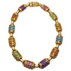 Vaid Roma 18 Karat Yellow Gold and Multicolored Semi Precious Necklace