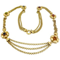 Vaid Roma 18 Karat Yellow Gold and Semi Precious Flower Necklace