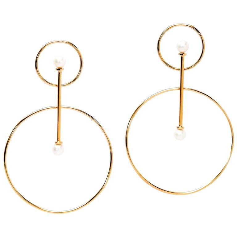 TIN HAUS Vairochana 14 Karat Yellow Gold and Freshwater Pearl Statement Earrings For Sale