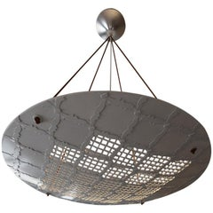 Vaisseau Round Geometric Jali Chandelier in White Marble by Paul Mathieu