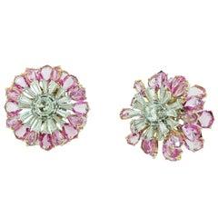 V.A.K Jewels 18K Rose Cut Diamond & Pink Sapphire 3-Dimensional Flower Earrings