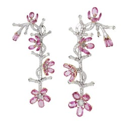 """V.A.K. Jewels Diamond and Pink Sapphire """"Tremblant"""" Life of Flower 18K Earrings"""