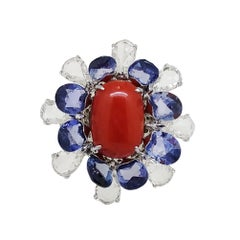 "V.A.K Jewels Italian Coral, Blue Sapphire and Diamond ""Tremblant"" 18K Gold Ring"
