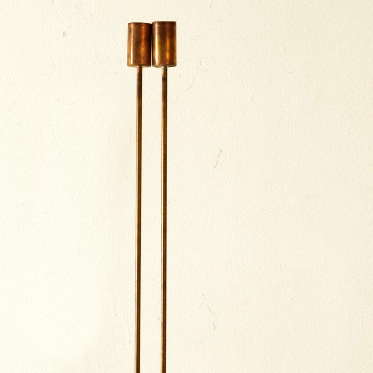 2 Rods on Wooden Base - White Abstract Sculpture by Val Bertoia